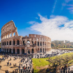 The Roman Colosseum (Coloseum) in Rome, Italy wide panoramic vie